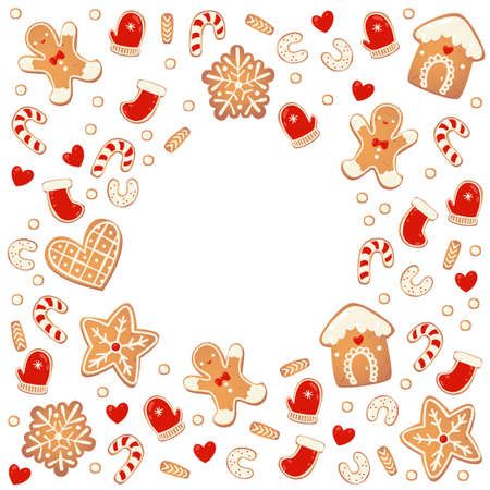 Christmas gingerbread cookies round frame isolated. New year design elements. Cartoon hand drawn vector illustration
