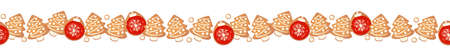 Christmas gingerbread cookies seamless border isolated. New year decorative garland. Cartoon hand drawn vector illustration.