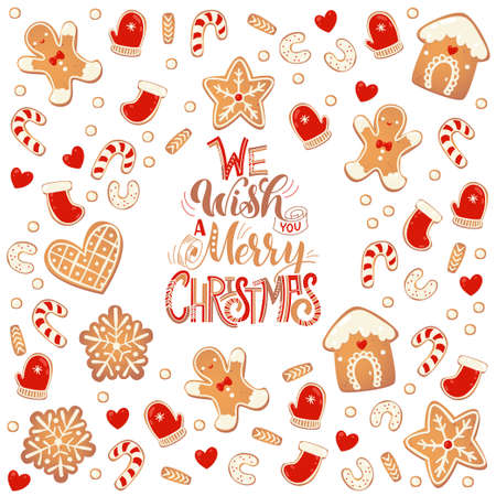 Merry Christmas card with gingerbread cookies. Vector illustration for New Year design. Иллюстрация