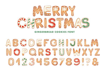 Christmas gingerbread cookies alphabet. Biscuit letters for xmas messages and design. Vector figures with sugar decorations.