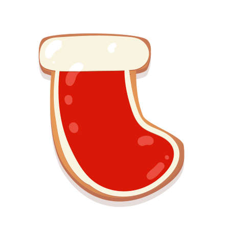 Christmas gingerbread cookie. Sock. Biscuit character figure. Vector illustration for new year design.