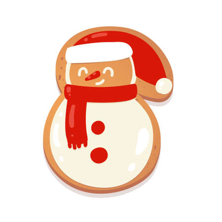Christmas gingerbread cookie. Snowman. Biscuit character figure. Vector illustration for new year design.