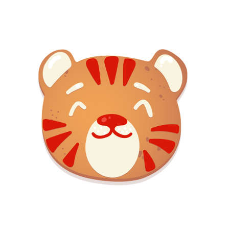 Christmas gingerbread cookie. 2022 Tiger. Biscuit character figure. Vector illustration for new year design. Иллюстрация