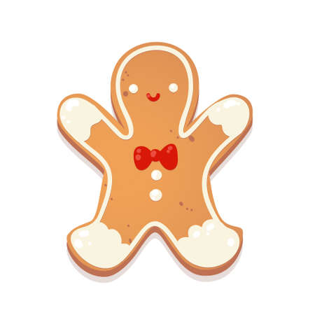 Christmas gingerbread cookie. Man. Biscuit character figure. Vector illustration for new year design.