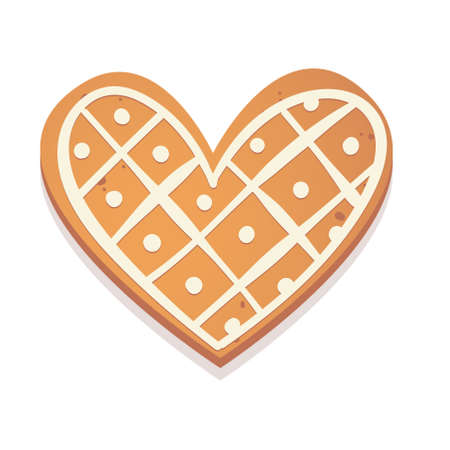Christmas gingerbread cookie. Heart. Biscuit character figure. Vector illustration for new year design. Иллюстрация