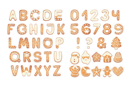 Christmas gingerbread cookies alphabet with figures. Biscuit letters, characters for xmas messages and design. Vector illustration with decorations.