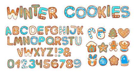 Christmas gingerbread cookies alphabet. Biscuit letters and characters for xmas messages and design. Vector illustration with sugar decorations.