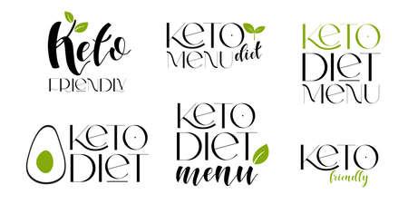 Keto friendly diet vector design elements. Set of badges. Illustration