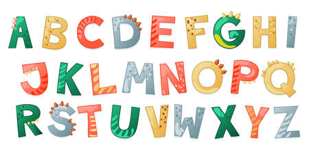 Cartoon cute Dinosaur alphabet. Dino font with letters. Children Vector illustration for t-shirts, cards, posters, birthday party events, paper design, kids and nursery design Illustration
