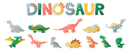 Cute cartoon dinosaur set. Funny dino characters for kids design. Vector illustration isolated on white background.