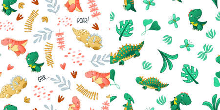 Seamless cute dinosaur pattern. Colorful dino background for kids. Childish vector design for textile and packaging, nursery wallpaper Illustration