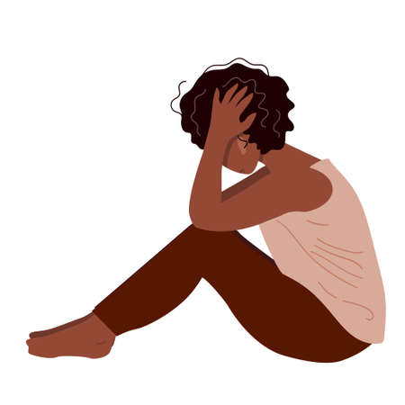 Depressed young unhappy girl sitting and holding her head. Concept of mental disorder. Colorful vector illustration in flat cartoon style. Illustration