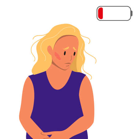 Tired woman sitting on the floor. Concept of emotional burnout or mental disorder. Colorful flat illustration in cartoon style. Illustration