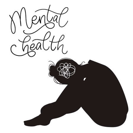 Mental health concept. Sad womans silhouette with depression sitting on the floor. Colorful vector illustration in flat cartoon style