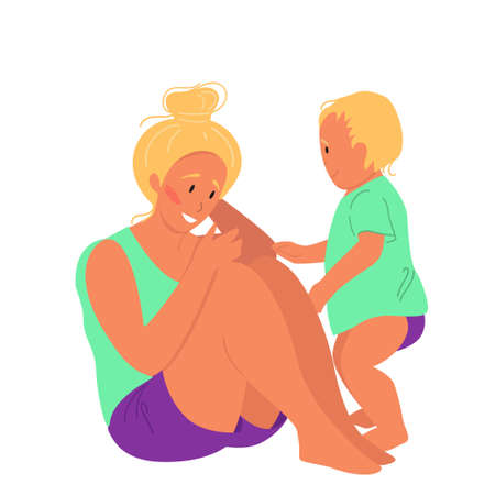 Happy woman with baby sits on the floor. Body positive and health care concept. Vector illustration in flat cartoon style Illustration