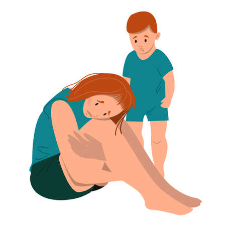 Sad mother sitting on the floor with her crying child. Postpartum depression concept. Colorful vector illustration in flat cartoon style.
