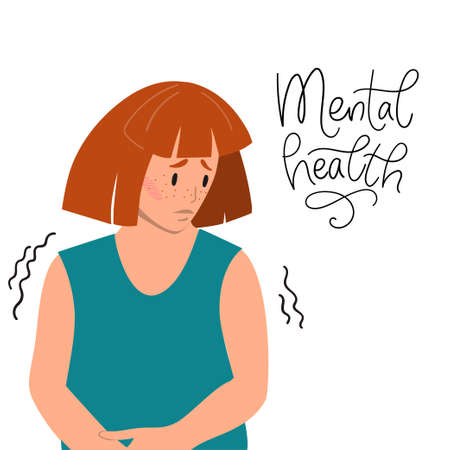 Mental health concept. Sad woman with depression sitting on the floor. Colorful vector illustration in flat cartoon style..