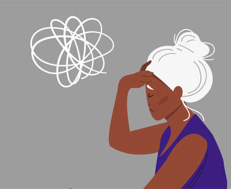 Eldery gray-haired woman with dementia and bewildered thoughts in her mind. Concept of memory loss anf fight with amnesia and mental disorder. Vector illustration. Illustration