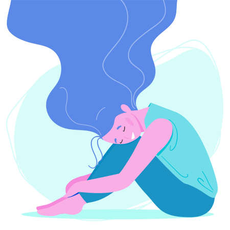 Happy woman with streaming hair sits on the floor. Body positive and health care concept. Vector illustration in flat cartoon style Illustration