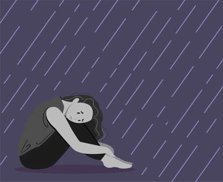 Depressed young unhappy girl sitting and hugging her knees under rain. Concept of mental disorder. Colorful vector illustration in flat cartoon style. Illustration