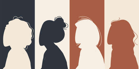 Women Silhouette of different cultures and nationalities standing together. The concept of the female empowerment movement and gender equality.