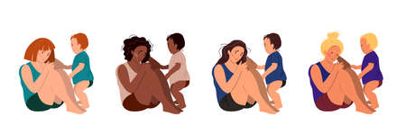 Sad mothers of different ethnicity sitting on the floor with her crying child. Postpartum depression concept. Colorful vector illustration in flat cartoon style. Illustration