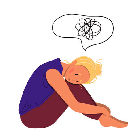 Depressed young unhappy girl sitting and hugging her knees. Concept of mental disorder. Colorful vector illustration in flat cartoon style.