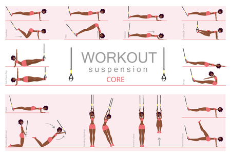 Black woman is engaged in fitness. Gym girl in gymnastic rings, vector illustration in flat style.
