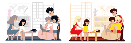 Homeschooling in the family. Homeschooling in the family. Mom and dad School at home, parents deal with children. Illustration