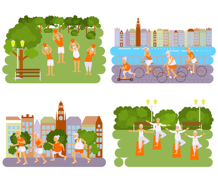 retiree: Banners Elderly people doing exercises. Healthy lifestyle, active lifestyle retiree. Sport for grandparents, elder Yoga in park and Ride for Seniors in city. Illustration