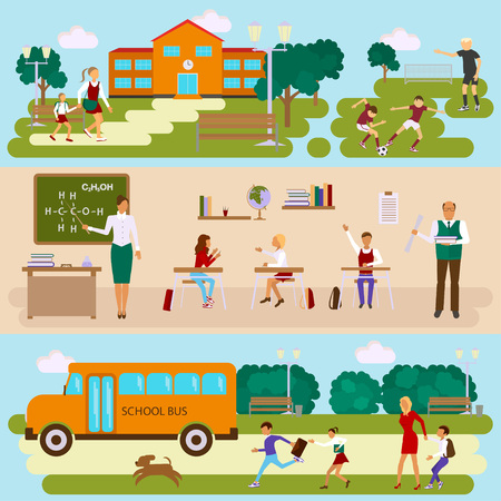 Three templates with school scene. Schoolyard and stadium. Students and teachers in the classroom. Teens and kids with parents by way to school bus. Illustration