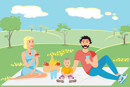 breackfast: Illustration of a happy family having a picnic in the park Illustration