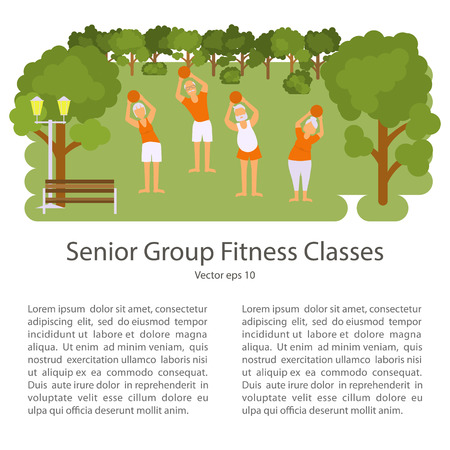 retiree: Elderly people doing exercises in different poses. Healthy active lifestyle retiree. Sport for grandparents, elder fitness, yoga for Seniors in park.