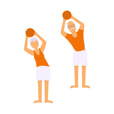 sport man: Seniors activity illustration. Pensioners exercising. Cartoon old man and women fitness and sport.