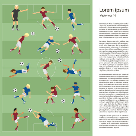 middle air: Set of soccer players in different poses on soccer field in flat design. Place for text. Perfect sport illustration for articles in magazine and websites about soccer match.