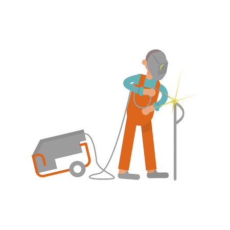 Welder working in modern flat design. Cartoon of construction . Work profession, suitable for illustration construction work on building. Illustration