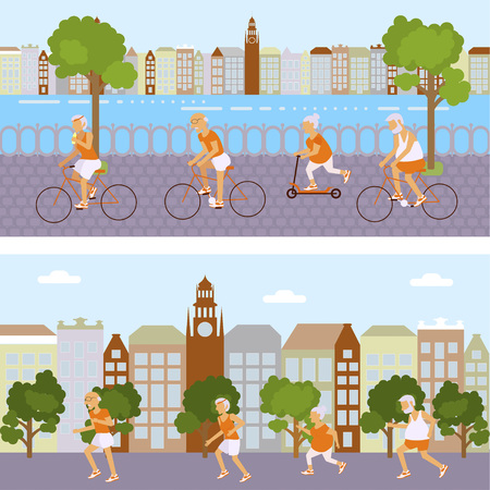 retiree: Banners Elderly people doing exercises. Healthy lifestyle, active lifestyle retiree. Sport for grandparents, elder Yoga in city and urban cycling for Seniors. Illustration