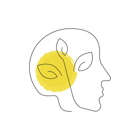 Human head, Pollution icon illustration made in line style. Environmental protection. Web design with symbol of planet ecology, concept for earth conservation. Illustration