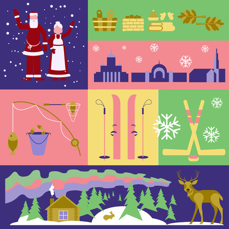 lapland: Flyers Explore the world. Scandinavia. Conceptual illustration with Finland elements and emblems  made in flat design style Travel to Europe banner template.