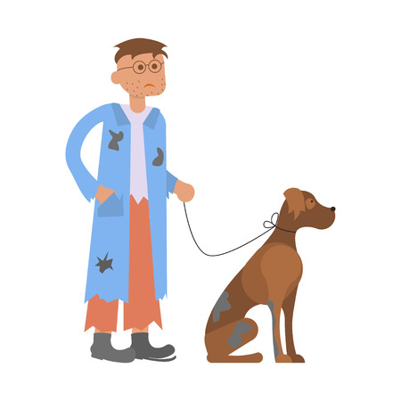 Tramp person. Hungry man with homeless dog in dirty rags. Isolated character bum for infographic. Vector illustration eps10 Ilustração