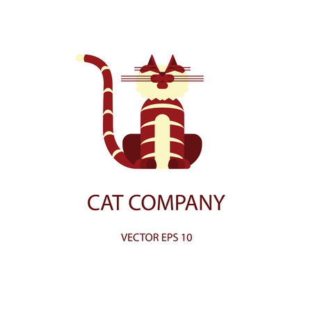 simple logo: Cat logo template in modern flat design isolated on white background. Vector illustration simple cartoon of pet logotype. Illustration