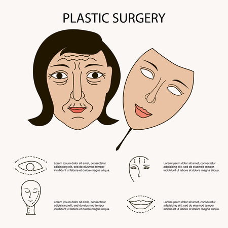 tightening: Vector Facial plastic surgery concept, composition for banner or flyer, abstract isolated illustration. Illustration