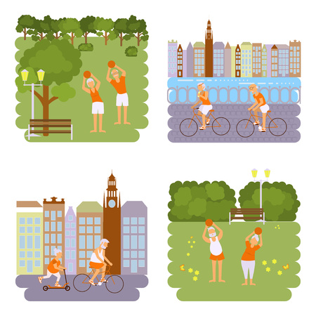 retiree: Banners Elderly people doing exercises. Healthy lifestyle, active lifestyle retiree. Sport for grandparents, elder Yoga in park and Ride for Seniors in city. Vector illustration eps 10