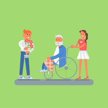 Flat design of young volunteers with senior, grandfather. Older man disabled person in a wheelchair. Vector illustration eps 10 Illustration