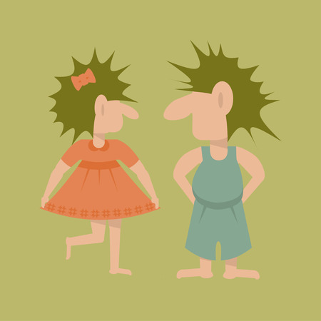 Pair of Trolls. Flat template isolated. Vector illustration simple cartoon of fairy giant girl and boy . In Scandinavian mythology a fabulous creatures. Illustration
