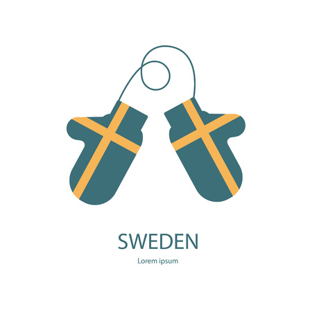 mitten: Sweden mitten with flag. Bright warm gauntlet in the Country National Colors. Country Flag Vector eps10 Illustration. Illustration