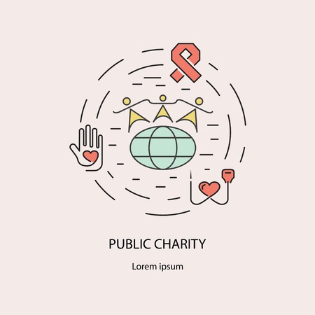 charitable: Pablic Charity and donation, volunteers needed concepts set for web banners, printed materials, infographics, websites. Creative icons in thin line flat design. Vector illustration eps10