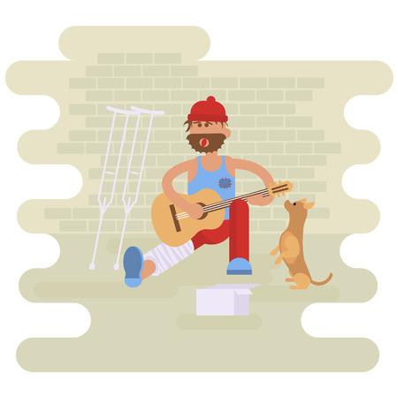 Schlendern Musiker. Obdachloser mit Hund. Vagrant Gitarrist mit Bein in Gips gegossen in schmutzigen Lumpen, die Gitarre zu spielen. Nach Hilfe fragen.