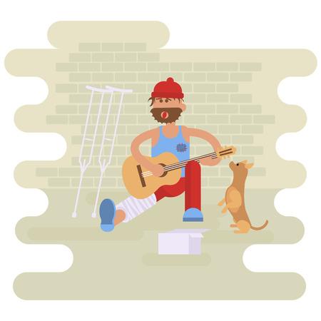 jobless: Strolling musician. Homeless man with Dog. Vagrant Guitarist  with leg in a plaster cast in dirty rags playing the guitar. Asking for help.