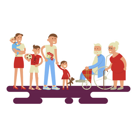 mom and dad: Big family portrait - grandfather, grandmother, mom, dad, kids. Two happy families in a flat style. Vector set of characters isolated on white background. The young congratulates elderly.